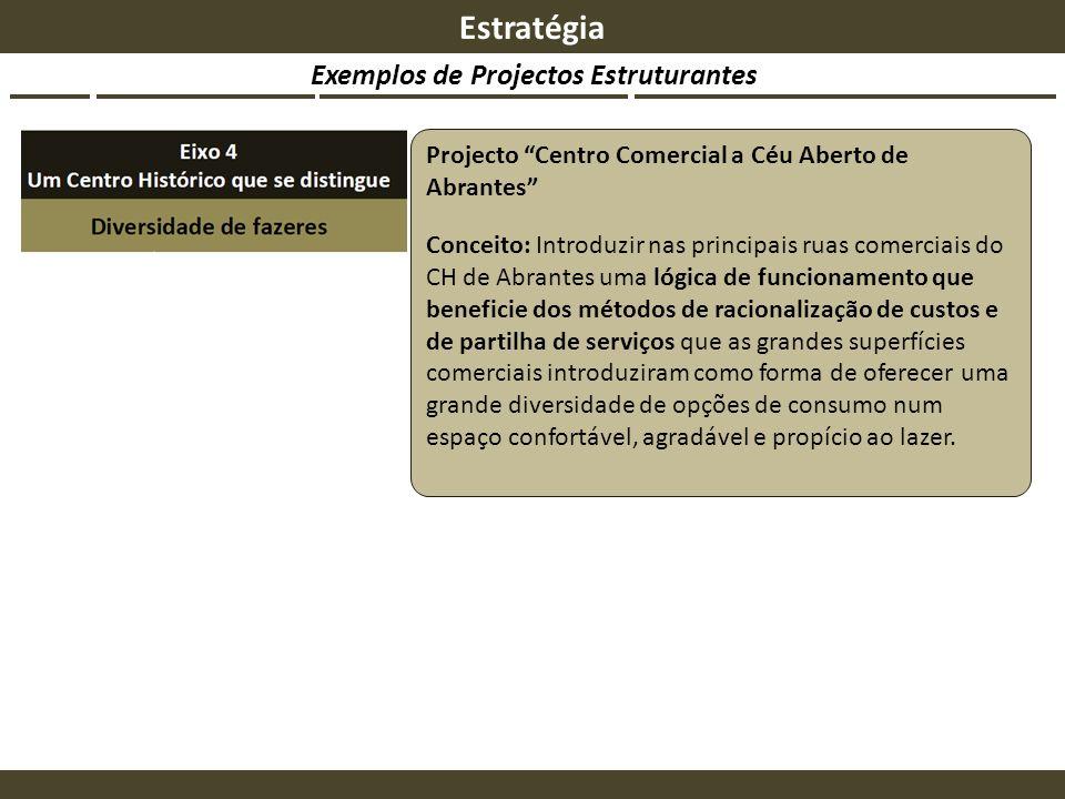 Exemplos de Projectos Estruturantes Estratégia Projecto Centro Comercial a Céu Aberto de Abrantes Conceito: Introduzir nas principais ruas comerciais