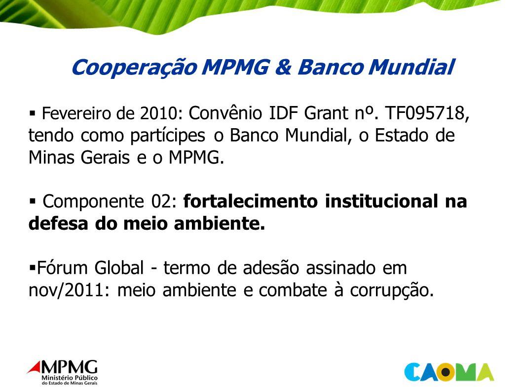 Cooperação MPMG & Banco Mundial Fevereiro de 2010: Convênio IDF Grant nº.