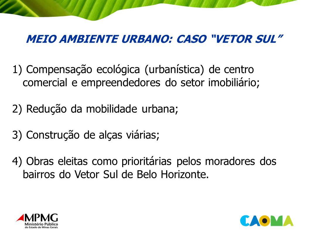 MEIO AMBIENTE URBANO: CASO VETOR SUL 1) Compensação ecológica (urbanística) de centro comercial e empreendedores do setor imobiliário; 2) Redução da mobilidade urbana; 3) Construção de alças viárias; 4) Obras eleitas como prioritárias pelos moradores dos bairros do Vetor Sul de Belo Horizonte.