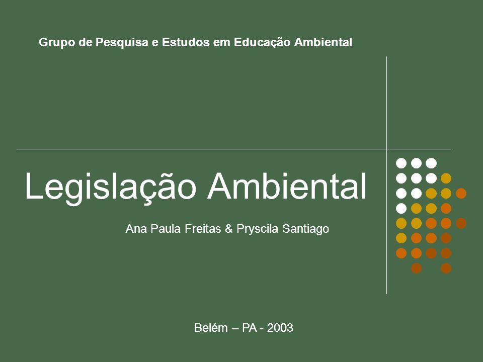 Grupo de Pesquisa e Estudos em Educação Ambiental Legislação Ambiental Ana Paula Freitas & Pryscila Santiago Belém – PA - 2003