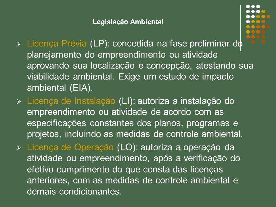 Legislação Ambiental Licença Prévia (LP): concedida na fase preliminar do planejamento do empreendimento ou atividade aprovando sua localização e conc