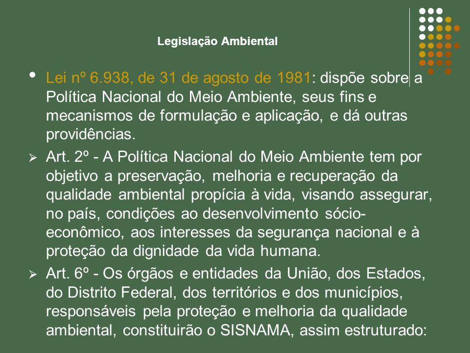 Legislação Ambiental Lei nº 6.938, de 31 de agosto de 1981: dispõe sobre a Política Nacional do Meio Ambiente, seus fins e mecanismos de formulação e