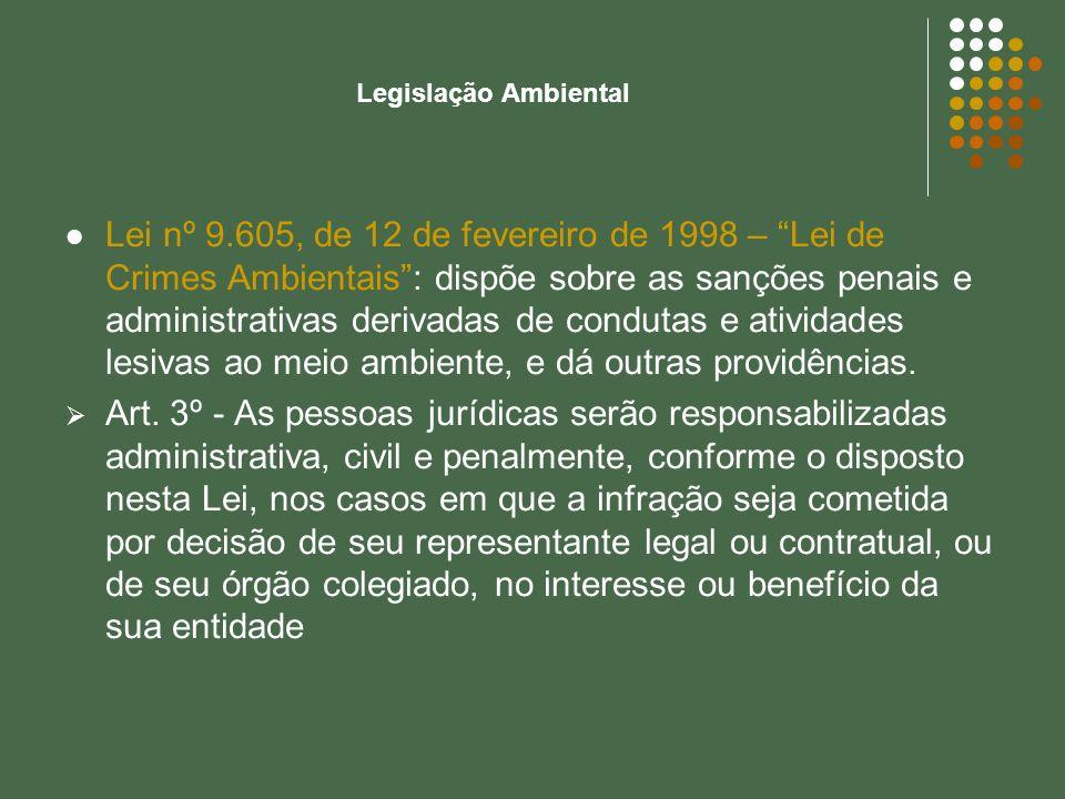 Lei nº 9.605, de 12 de fevereiro de 1998 – Lei de Crimes Ambientais: dispõe sobre as sanções penais e administrativas derivadas de condutas e atividad