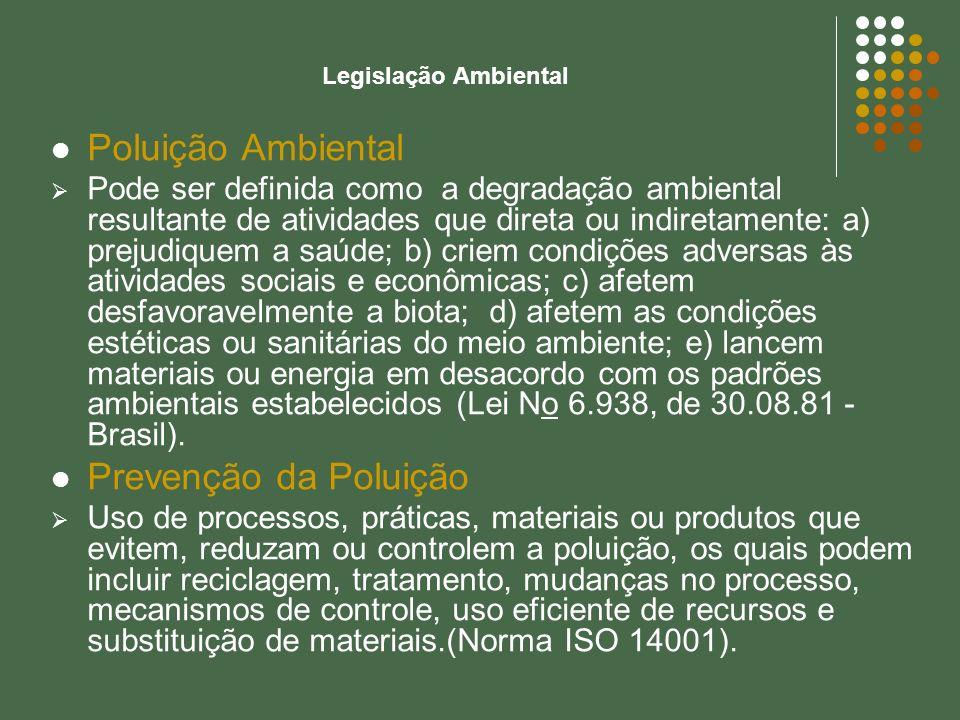 Legislação Ambiental Poluição Ambiental Pode ser definida como a degradação ambiental resultante de atividades que direta ou indiretamente: a) prejudi