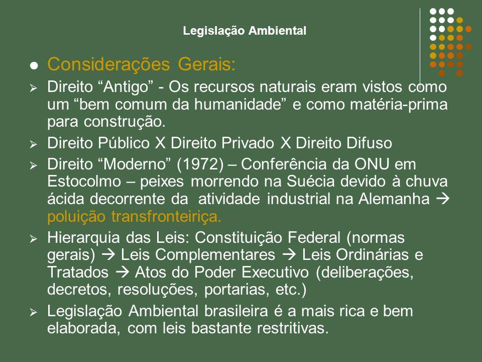 Considerações Gerais: Direito Antigo - Os recursos naturais eram vistos como um bem comum da humanidade e como matéria-prima para construção. Direito