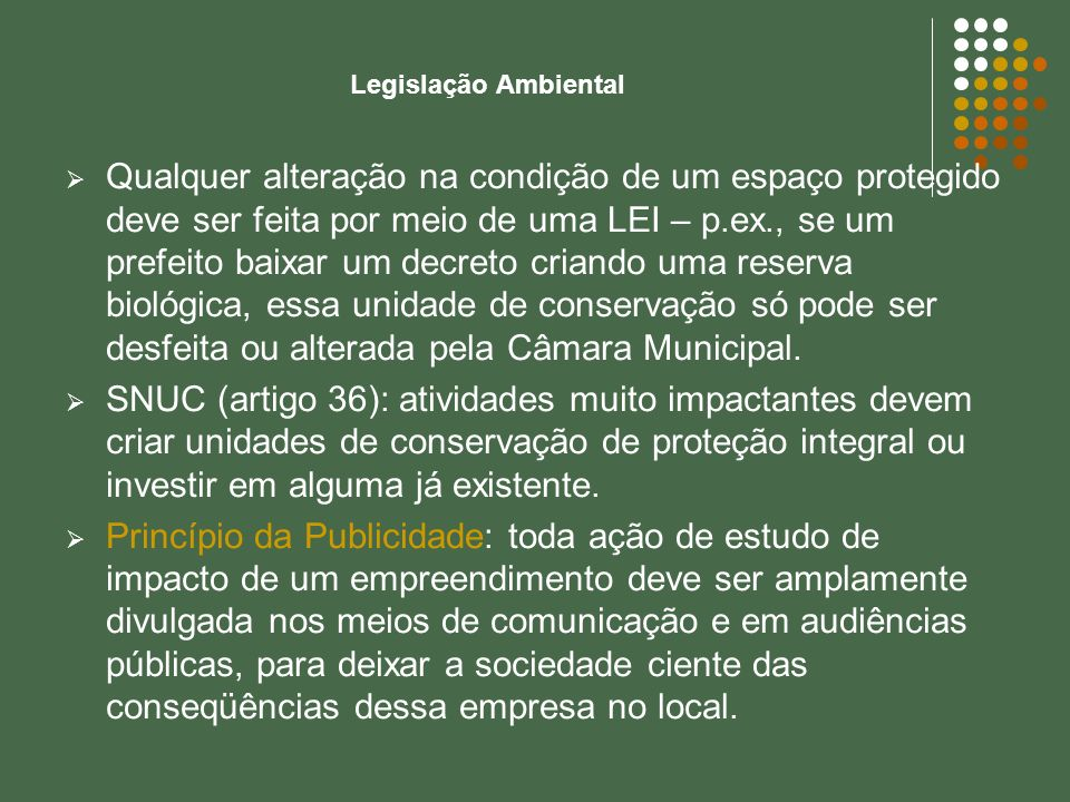 Legislação Ambiental Qualquer alteração na condição de um espaço protegido deve ser feita por meio de uma LEI – p.ex., se um prefeito baixar um decret