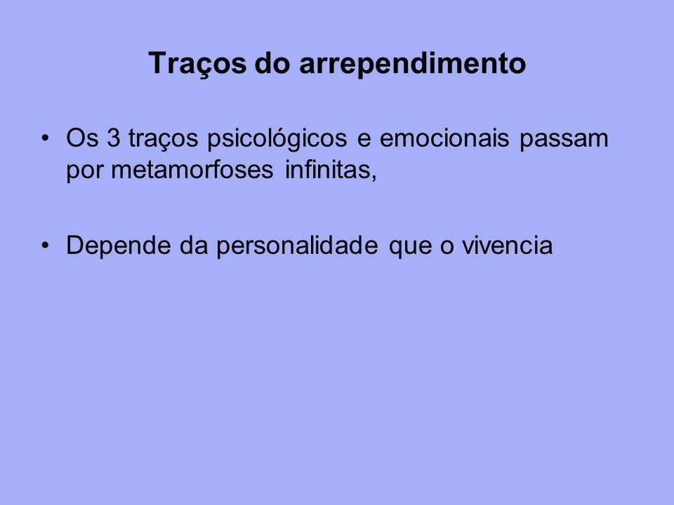 Traços do arrependimento Os 3 traços psicológicos e emocionais passam por metamorfoses infinitas, Depende da personalidade que o vivencia