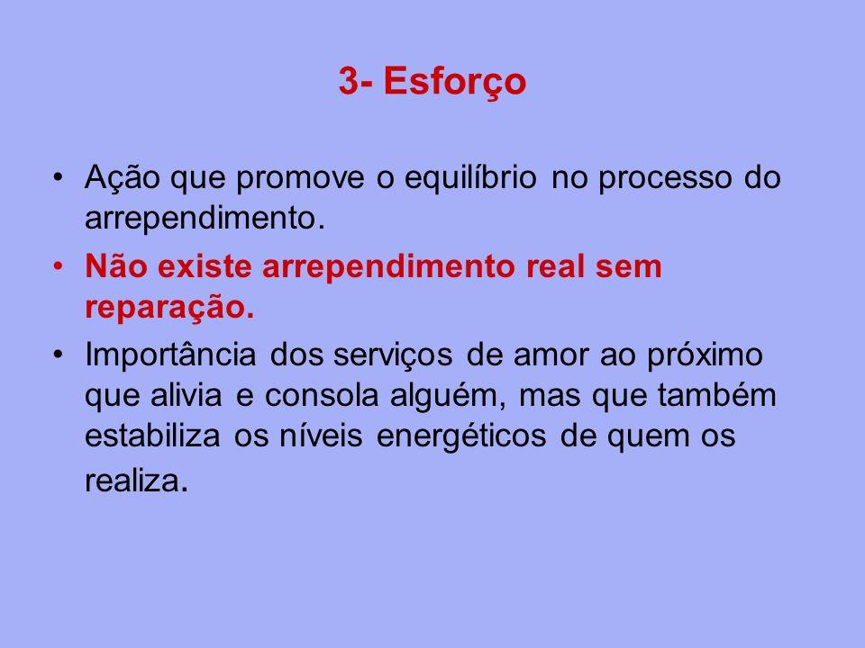 3- Esforço Ação que promove o equilíbrio no processo do arrependimento. Não existe arrependimento real sem reparação. Importância dos serviços de amor