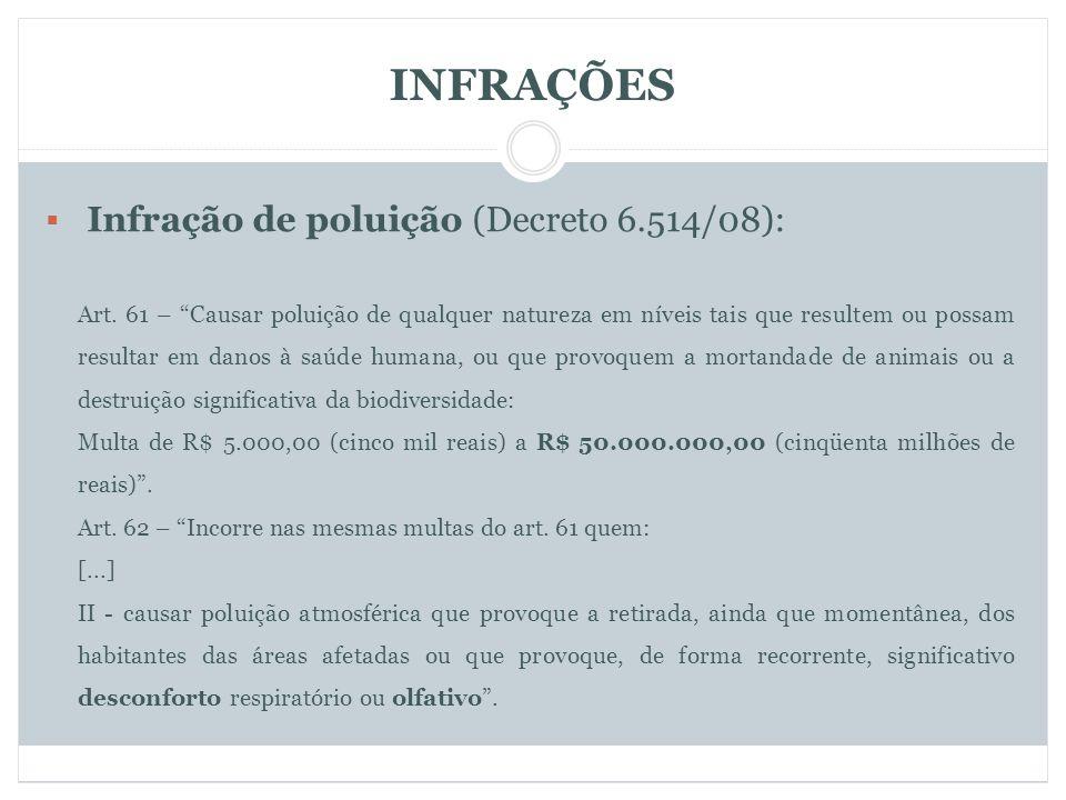 INFRAÇÕES Infração de poluição (Decreto 6.514/08): Art.