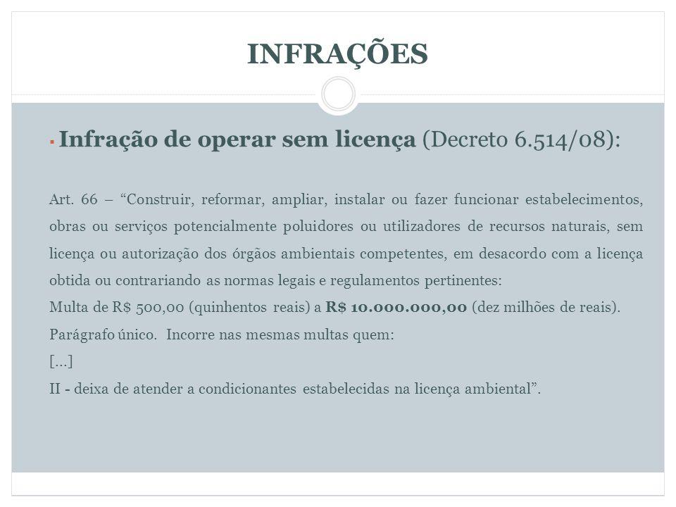 INFRAÇÕES Infração de operar sem licença (Decreto 6.514/08): Art.