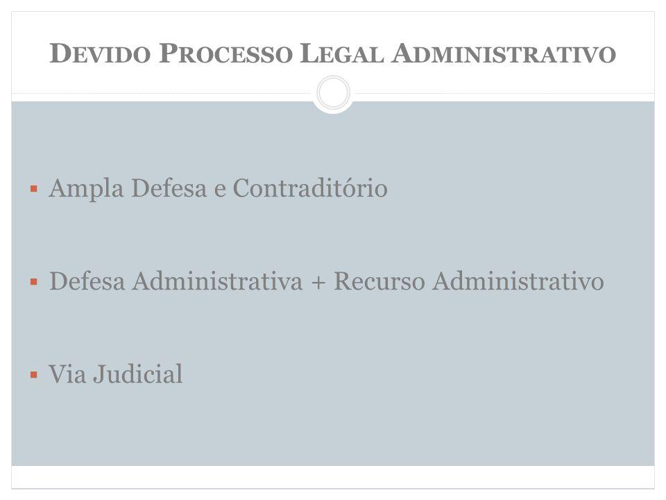 D EVIDO P ROCESSO L EGAL A DMINISTRATIVO Ampla Defesa e Contraditório Defesa Administrativa + Recurso Administrativo Via Judicial