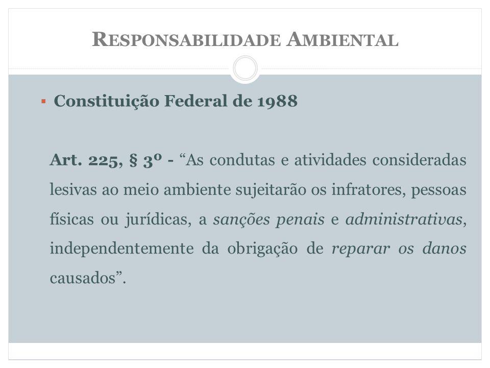 R ESPONSABILIDADE A MBIENTAL Constituição Federal de 1988 Art.