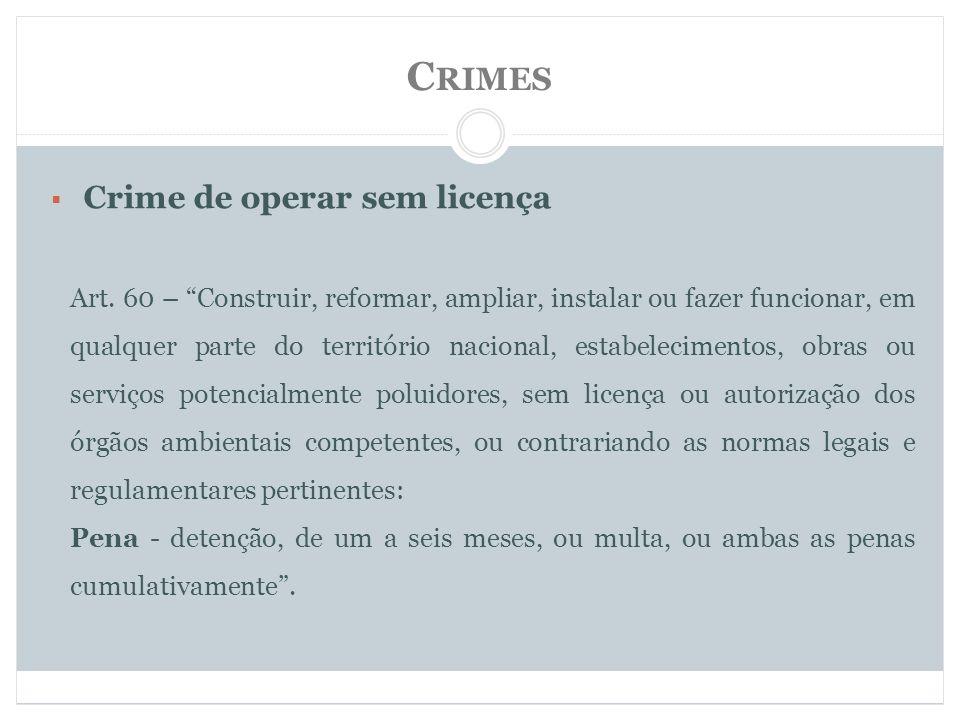 C RIMES Crime de operar sem licença Art.