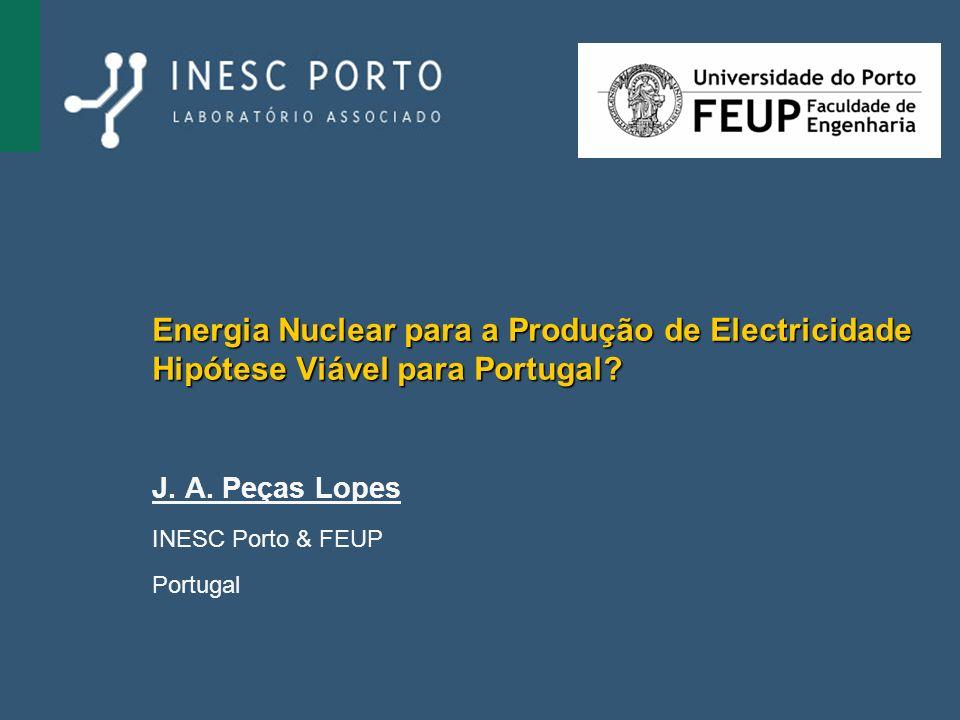 Energia Nuclear para a Produção de Electricidade Hipótese Viável para Portugal? J. A. Peças Lopes INESC Porto & FEUP Portugal