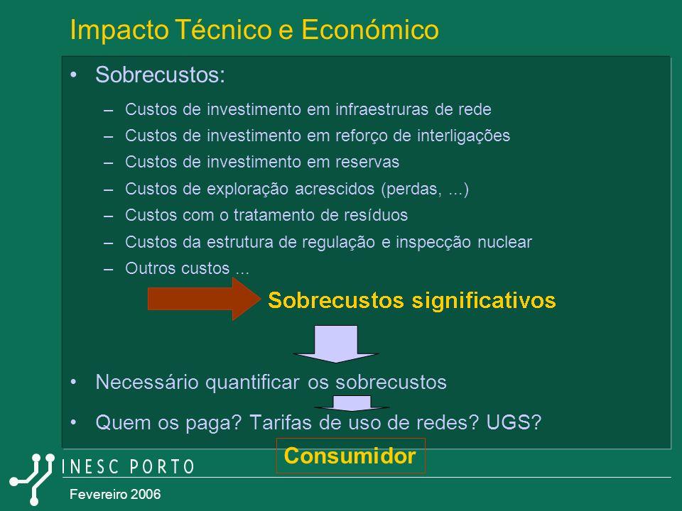 Fevereiro 2006 Impacto Técnico e Económico Sobrecustos: –Custos de investimento em infraestruras de rede –Custos de investimento em reforço de interli
