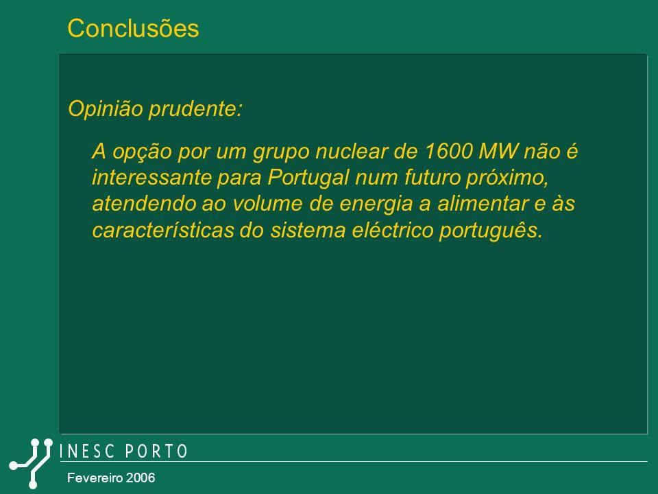 Fevereiro 2006 Opinião prudente: A opção por um grupo nuclear de 1600 MW não é interessante para Portugal num futuro próximo, atendendo ao volume de e
