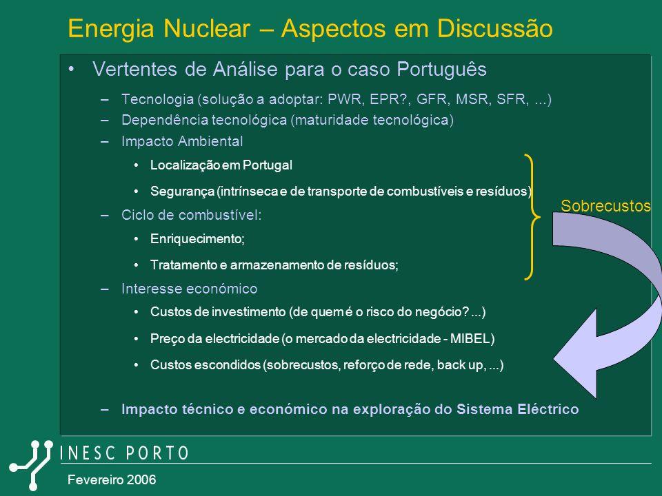 Fevereiro 2006 Energia Nuclear – Aspectos em Discussão Vertentes de Análise para o caso Português –Tecnologia (solução a adoptar: PWR, EPR?, GFR, MSR,