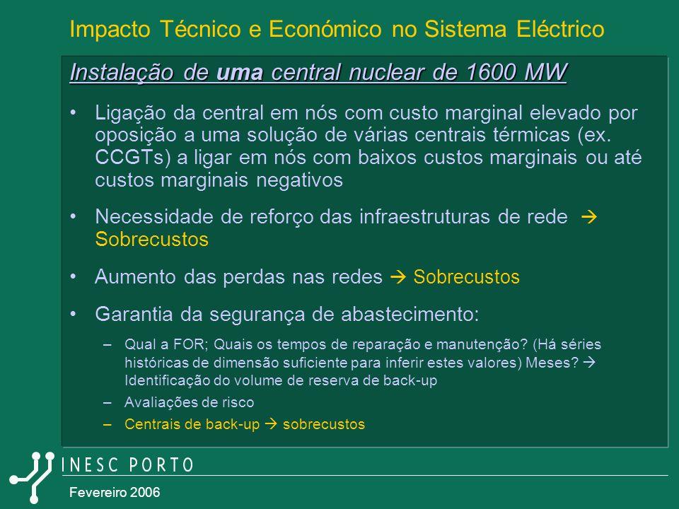 Fevereiro 2006 Impacto Técnico e Económico no Sistema Eléctrico Instalação de uma central nuclear de 1600 MW Ligação da central em nós com custo margi
