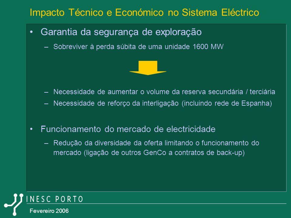 Fevereiro 2006 Impacto Técnico e Económico no Sistema Eléctrico Garantia da segurança de exploração –Sobreviver à perda súbita de uma unidade 1600 MW