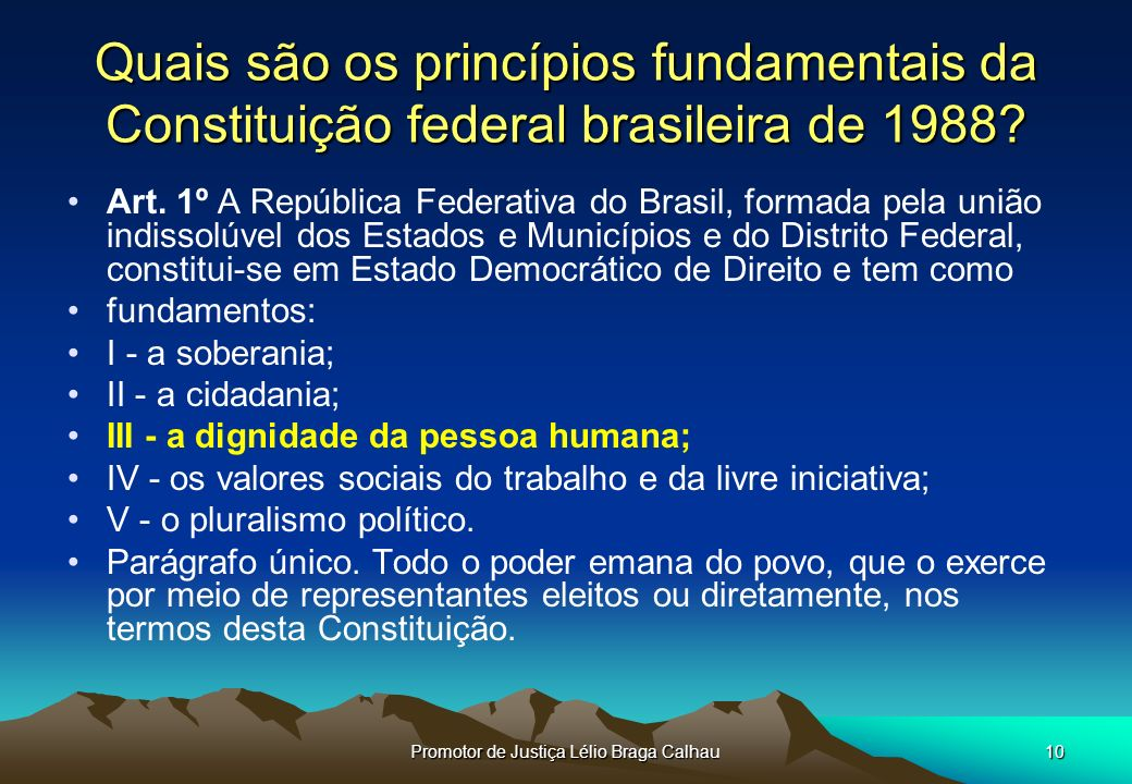 Promotor de Justiça Lélio Braga Calhau10 Quais são os princípios fundamentais da Constituição federal brasileira de 1988.
