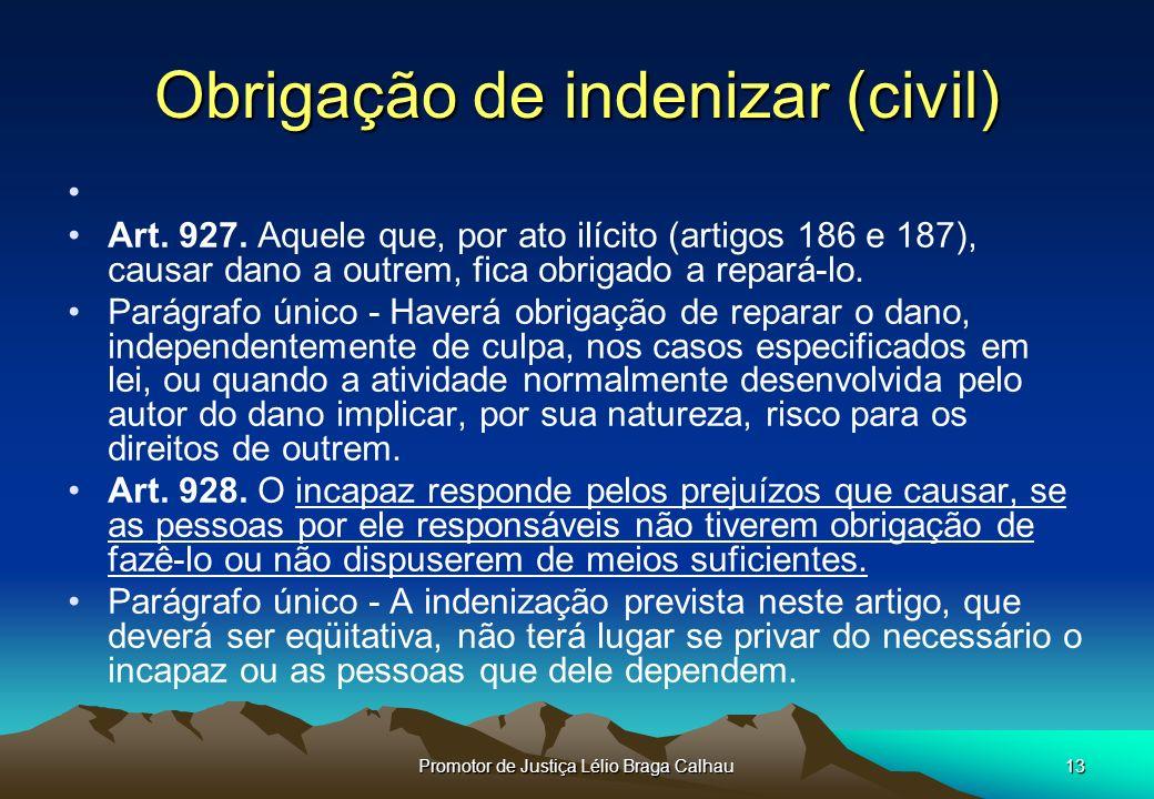 Promotor de Justiça Lélio Braga Calhau13 Obrigação de indenizar (civil) Art.