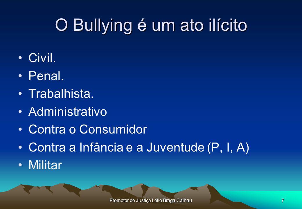 Promotor de Justiça Lélio Braga Calhau7 O Bullying é um ato ilícito Civil.