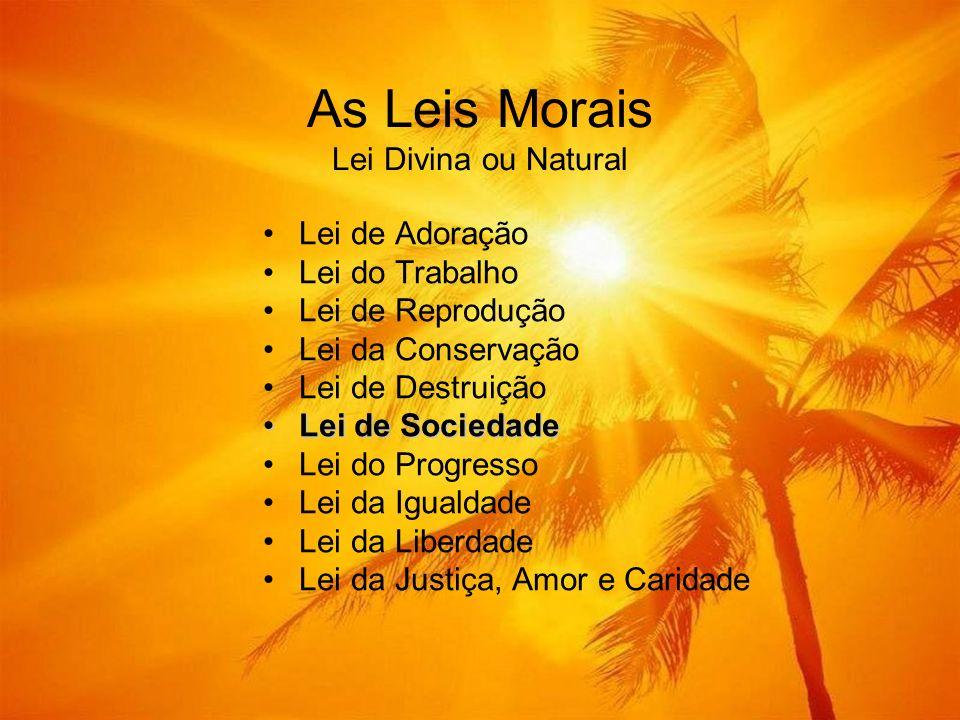 As Leis Morais Lei Divina ou Natural Lei de Adoração Lei do Trabalho Lei de Reprodução Lei da Conservação Lei de Destruição Lei de SociedadeLei de Soc