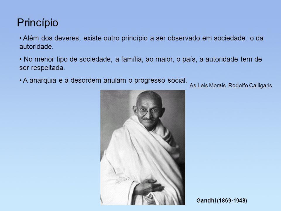 Princípio Além dos deveres, existe outro princípio a ser observado em sociedade: o da autoridade. No menor tipo de sociedade, a família, ao maior, o p
