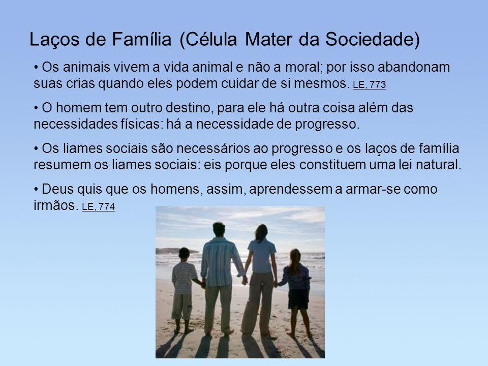 Laços de Família (Célula Mater da Sociedade) Os animais vivem a vida animal e não a moral; por isso abandonam suas crias quando eles podem cuidar de s