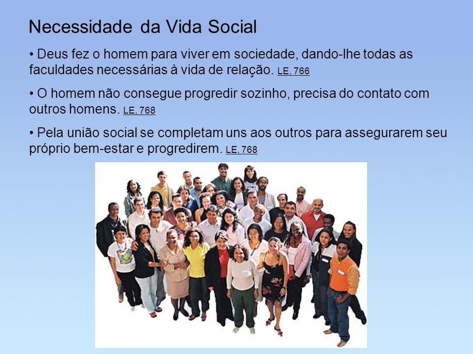Necessidade da Vida Social Deus fez o homem para viver em sociedade, dando-lhe todas as faculdades necessárias à vida de relação. LE, 766 O homem não