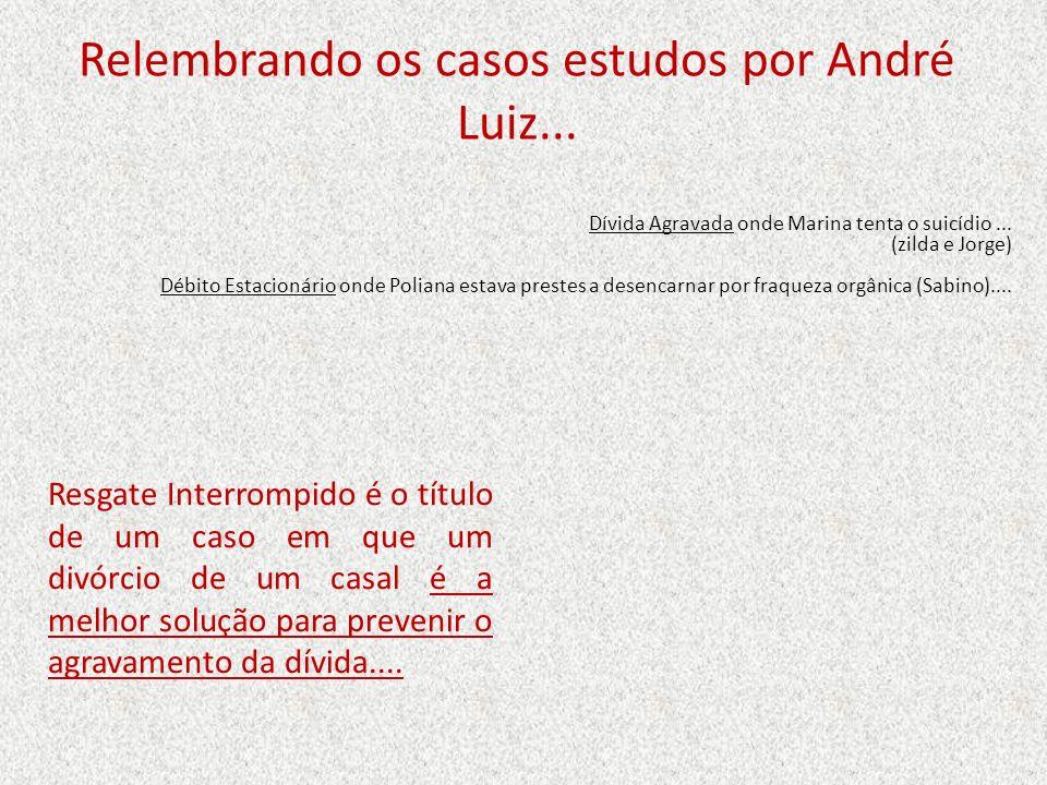 Relembrando os casos estudos por André Luiz...Dívida Agravada onde Marina tenta o suicídio...