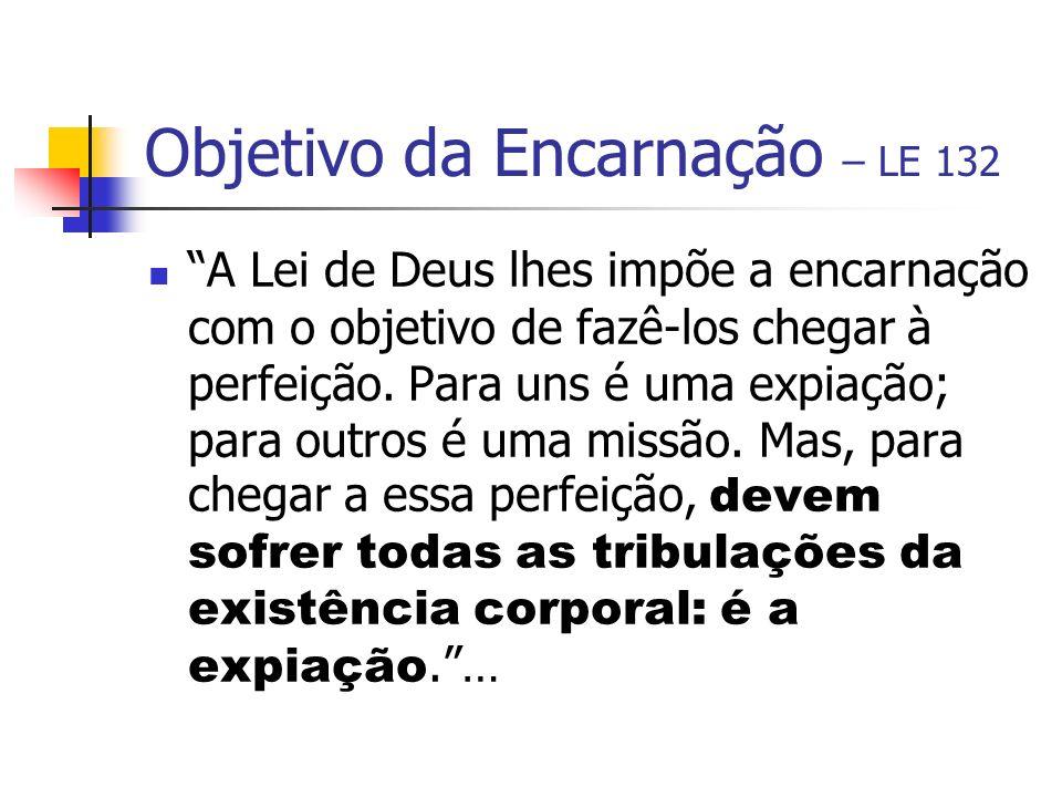 Objetivo da Encarnação – LE 132 A Lei de Deus lhes impõe a encarnação com o objetivo de fazê-los chegar à perfeição. Para uns é uma expiação; para out