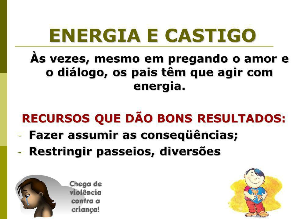 ENERGIA E CASTIGO Às vezes, mesmo em pregando o amor e o diálogo, os pais têm que agir com energia.