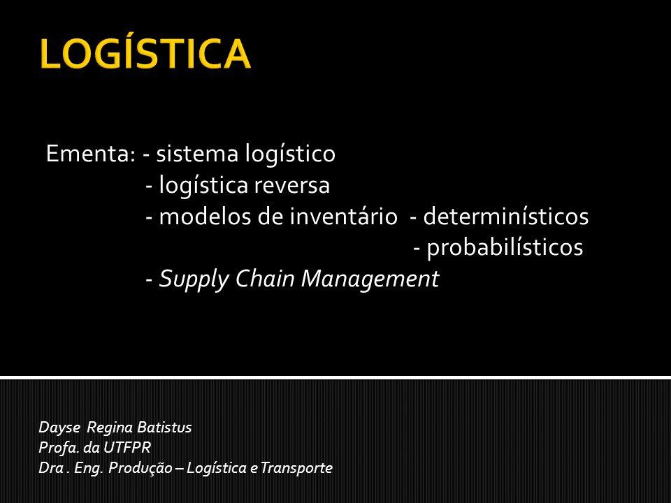Ementa: - sistema logístico - logística reversa - modelos de inventário - determinísticos - probabilísticos - Supply Chain Management Dayse Regina Batistus Profa.