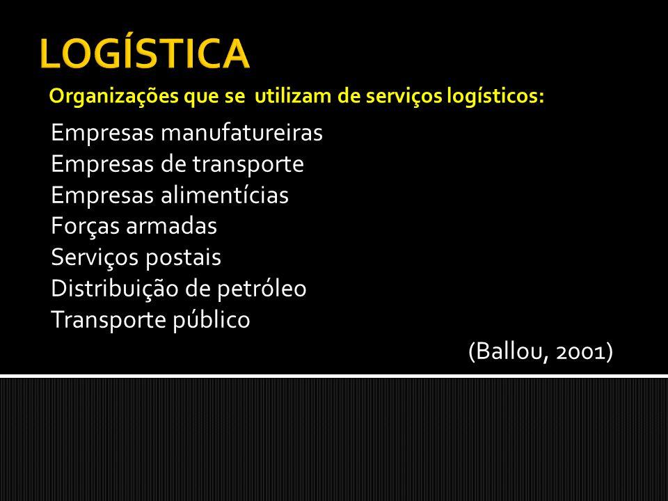 Empresas manufatureiras Empresas de transporte Empresas alimentícias Forças armadas Serviços postais Distribuição de petróleo Transporte público (Ballou, 2001) Organizações que se utilizam de serviços logísticos: