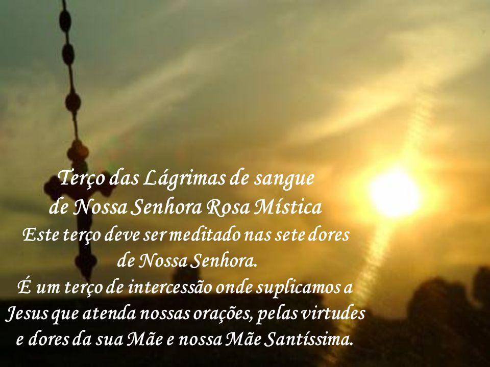 Terço das Lágrimas de sangue de Nossa Senhora Rosa Mística Este terço deve ser meditado nas sete dores de Nossa Senhora.