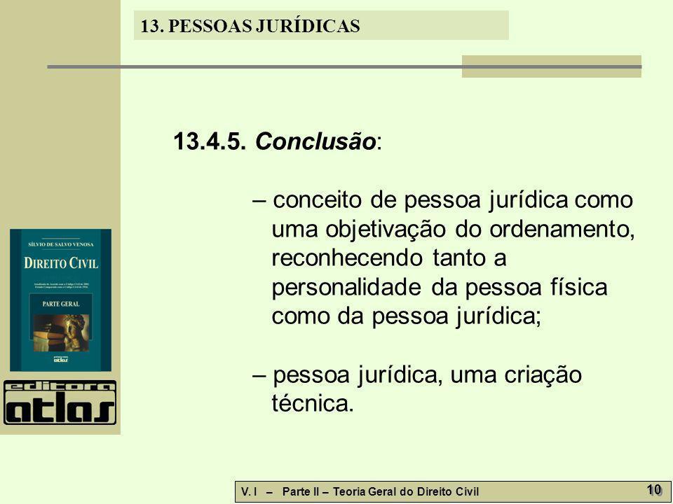 13. PESSOAS JURÍDICAS V. I – Parte II – Teoria Geral do Direito Civil 10 13.4.5. Conclusão: – conceito de pessoa jurídica como uma objetivação do orde