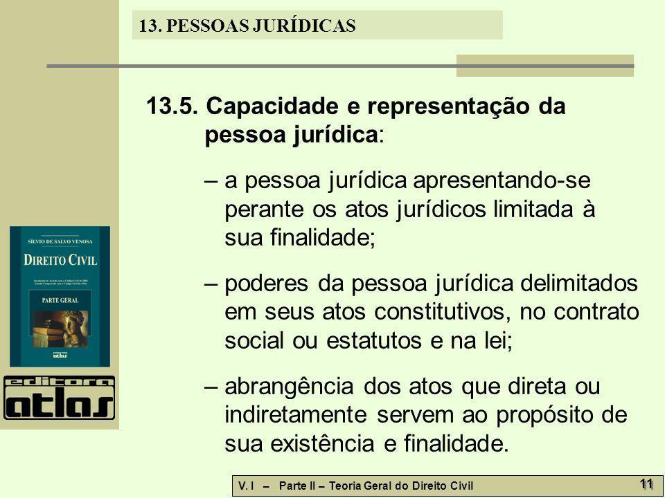 13. PESSOAS JURÍDICAS V. I – Parte II – Teoria Geral do Direito Civil 11 13.5. Capacidade e representação da pessoa jurídica: – a pessoa jurídica apre