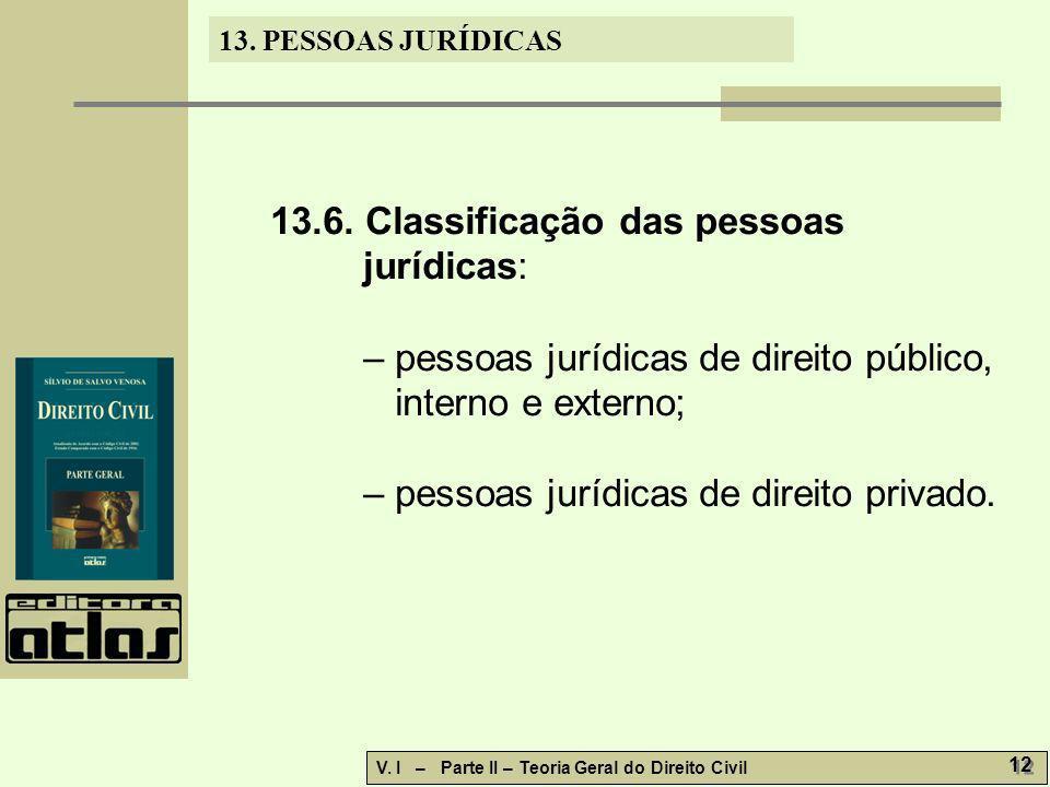 13. PESSOAS JURÍDICAS V. I – Parte II – Teoria Geral do Direito Civil 12 13.6. Classificação das pessoas jurídicas: – pessoas jurídicas de direito púb