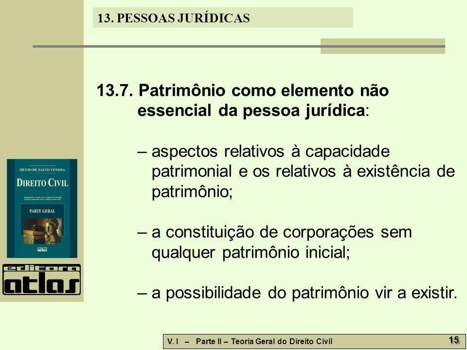 13. PESSOAS JURÍDICAS V. I – Parte II – Teoria Geral do Direito Civil 15 13.7. Patrimônio como elemento não essencial da pessoa jurídica: – aspectos r