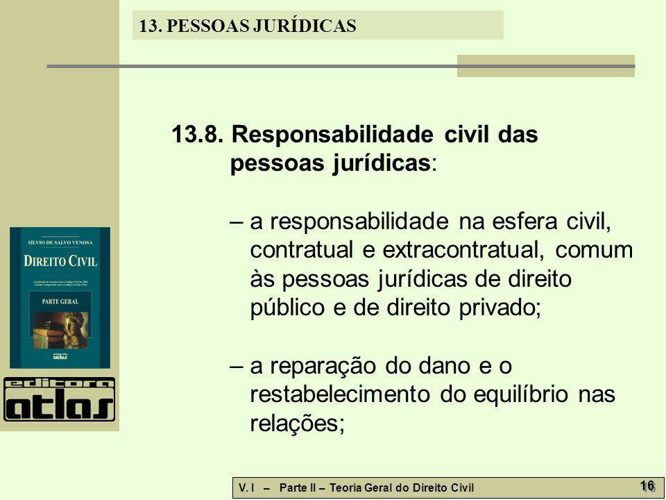 13. PESSOAS JURÍDICAS V. I – Parte II – Teoria Geral do Direito Civil 16 13.8. Responsabilidade civil das pessoas jurídicas: – a responsabilidade na e