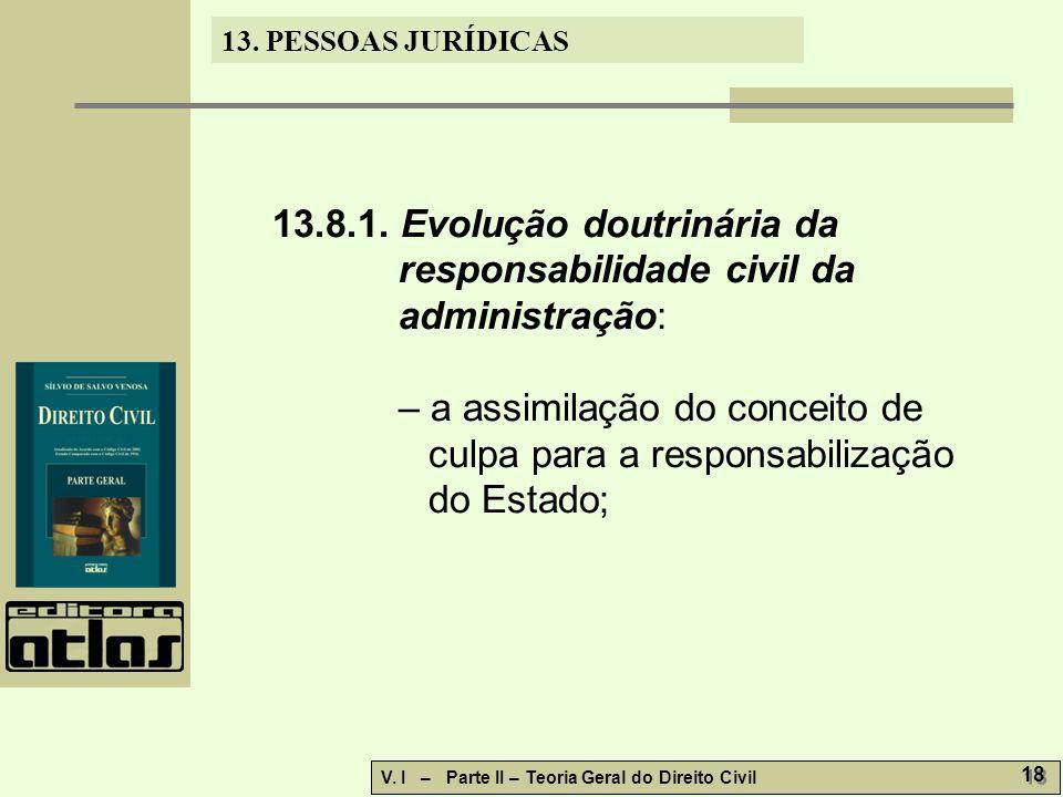 13. PESSOAS JURÍDICAS V. I – Parte II – Teoria Geral do Direito Civil 18 13.8.1. Evolução doutrinária da responsabilidade civil da administração: – a
