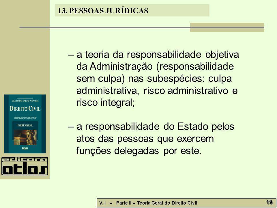 13. PESSOAS JURÍDICAS V. I – Parte II – Teoria Geral do Direito Civil 19 – a teoria da responsabilidade objetiva da Administração (responsabilidade se