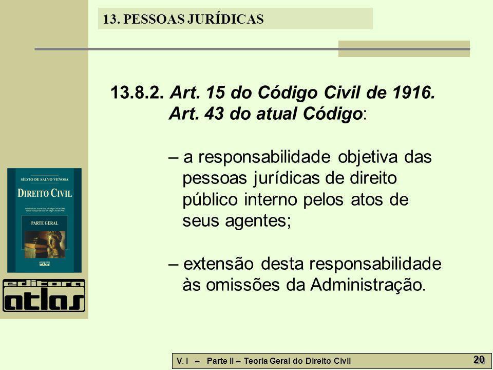 13. PESSOAS JURÍDICAS V. I – Parte II – Teoria Geral do Direito Civil 20 13.8.2. Art. 15 do Código Civil de 1916. Art. 43 do atual Código: – a respons