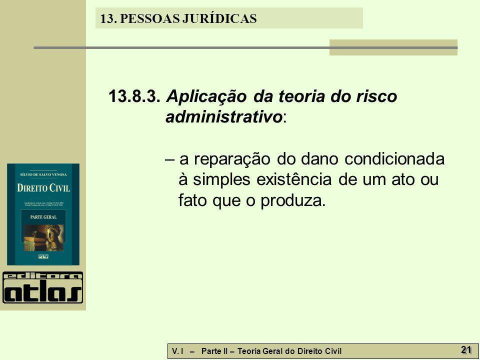 13. PESSOAS JURÍDICAS V. I – Parte II – Teoria Geral do Direito Civil 21 13.8.3. Aplicação da teoria do risco administrativo: – a reparação do dano co