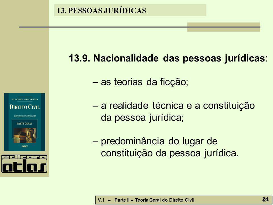 13. PESSOAS JURÍDICAS V. I – Parte II – Teoria Geral do Direito Civil 24 13.9. Nacionalidade das pessoas jurídicas: – as teorias da ficção; – a realid