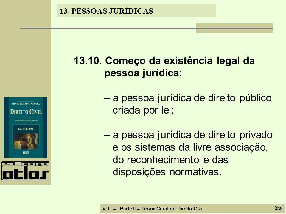 13. PESSOAS JURÍDICAS V. I – Parte II – Teoria Geral do Direito Civil 25 13.10. Começo da existência legal da pessoa jurídica: – a pessoa jurídica de
