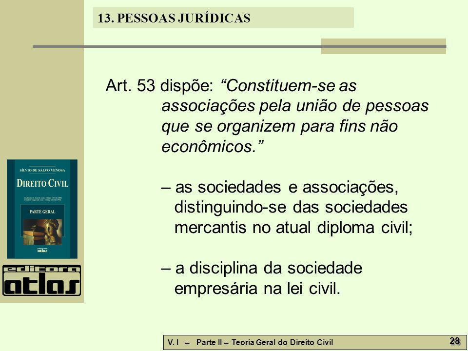 13. PESSOAS JURÍDICAS V. I – Parte II – Teoria Geral do Direito Civil 28 Art. 53 dispõe: Constituem-se as associações pela união de pessoas que se org