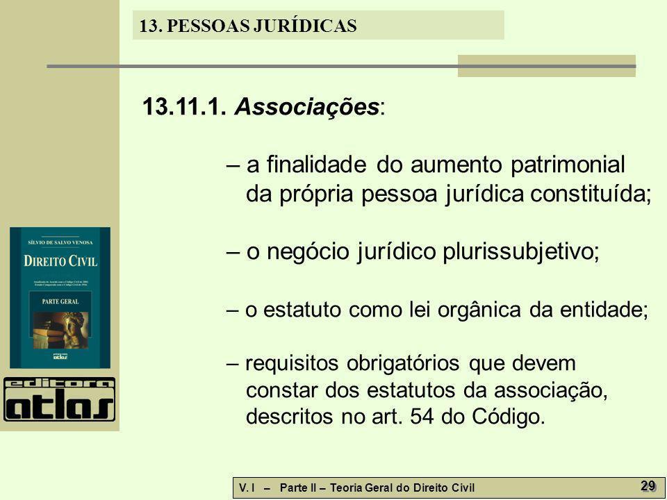 13. PESSOAS JURÍDICAS V. I – Parte II – Teoria Geral do Direito Civil 29 13.11.1. Associações: – a finalidade do aumento patrimonial da própria pessoa