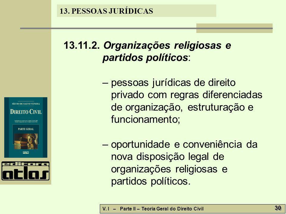 13. PESSOAS JURÍDICAS V. I – Parte II – Teoria Geral do Direito Civil 30 13.11.2. Organizações religiosas e partidos políticos: – pessoas jurídicas de